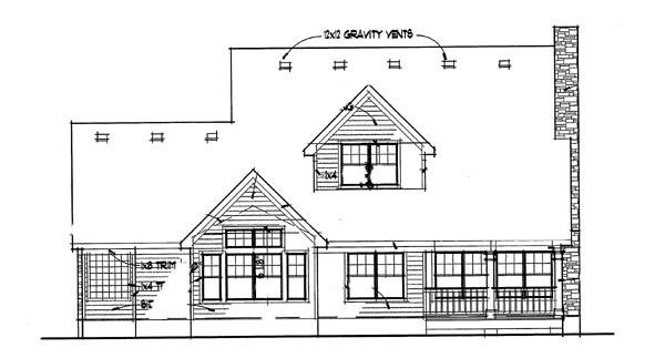 Southern , Rear Elevation of Plan 65803