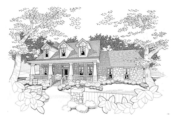 Bungalow, Cape Cod, Country House Plan 65804 with 3 Beds, 2.5 Baths, 2 Car Garage Elevation