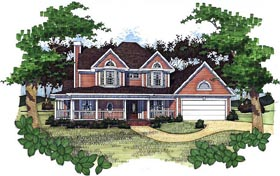 House Plan 65805 | Country Style House Plan with 1761 Sq Ft, 3 Bed, 2.5 Bath, 2 Car Garage Elevation
