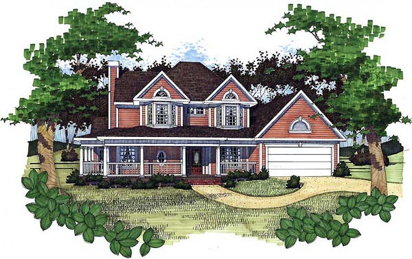Country House Plan 65805 with 3 Beds, 2.5 Baths, 2 Car Garage Front Elevation
