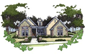 House Plan 65806 | Cottage, Traditional Style House Plan with 1779 Sq Ft, 3 Bed, 2 Bath, 2 Car Garage Elevation