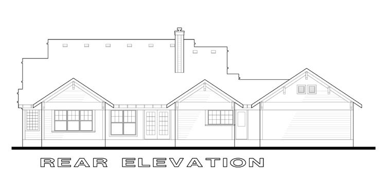 Traditional , Rear Elevation of Plan 65808