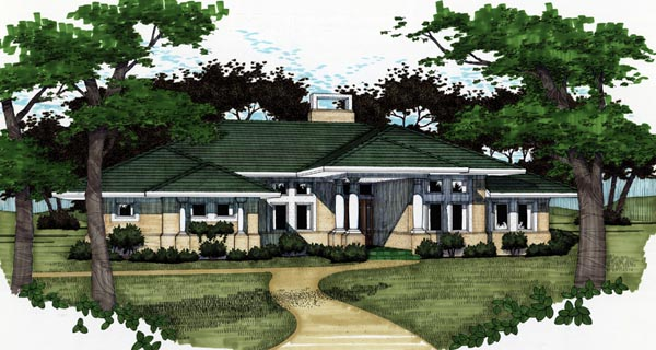 Florida Prairie Style Southwest House Plan 65810 Elevation