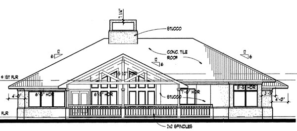 Florida Prairie Style Southwest House Plan 65810 Rear Elevation