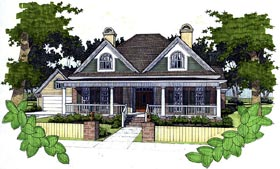 Southern House Plan 65811 with 3 Beds, 2 Baths, 2 Car Garage Elevation