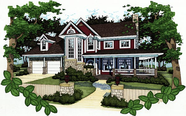 Farmhouse House Plan 65812 with 3 Beds, 2.5 Baths, 2 Car Garage Elevation