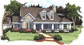 Southern House Plan 65813 with 3 Beds, 2 Baths, 2 Car Garage Elevation