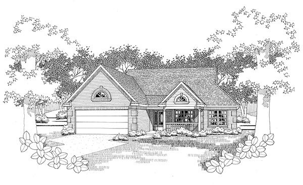Traditional House Plan 65817 with 2 Beds, 2 Baths, 2 Car Garage Elevation