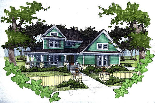 Country House Plan 65818 with 3 Beds, 2.5 Baths, 2 Car Garage Front Elevation