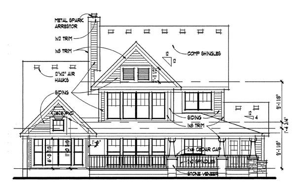 Country House Plan 65818 with 3 Beds, 2.5 Baths, 2 Car Garage Rear Elevation