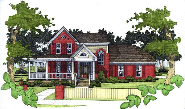 European House Plan 65822 with 3 Beds, 2.5 Baths, 2 Car Garage Elevation