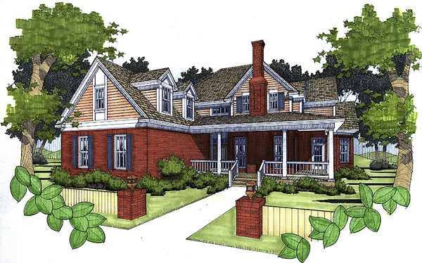 Traditional House Plan 65824 with 3 Beds, 2 Baths, 2 Car Garage Elevation