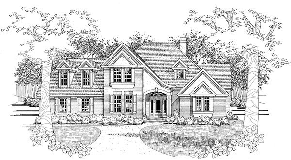 Traditional House Plan 65825 with 3 Beds, 2.5 Baths, 2 Car Garage Elevation