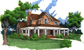 Southern , Farmhouse , Country House Plan 65826 with 3 Beds, 2.5 Baths, 2 Car Garage Elevation