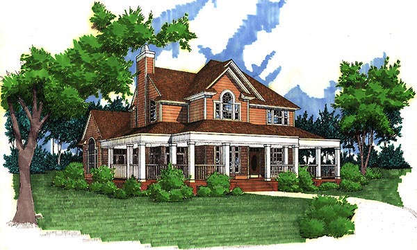 Country Farmhouse Southern House Plan 65826 Elevation