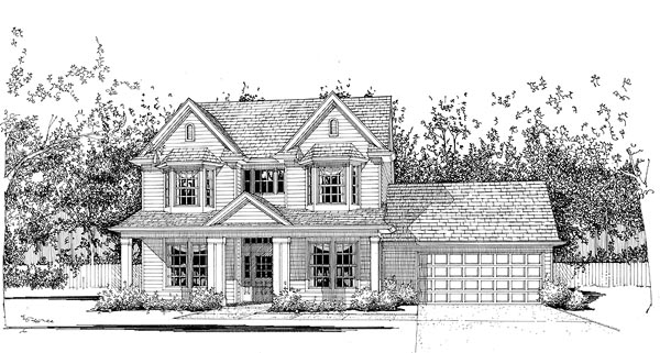 House Plan 65827 | Country Style Plan with 2127 Sq Ft, 4 Bedrooms, 2.5 Bathrooms, 2 Car Garage Elevation
