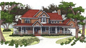 Farmhouse House Plan 65831 with 3 Beds, 2.5 Baths, 2 Car Garage Elevation