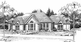 Traditional House Plan 65833 with 3 Beds, 2 Baths, 2 Car Garage Elevation