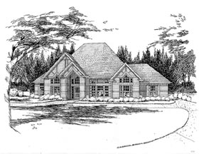 Traditional House Plan 65836 with 4 Beds, 3 Baths, 2 Car Garage Elevation
