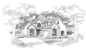 Traditional House Plan 65837 with 3 Beds, 2.5 Baths, 2 Car Garage Elevation