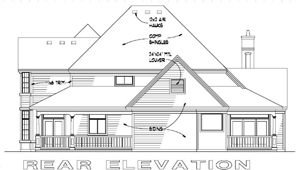 Victorian House Plan 65839 with 3 Beds, 2.5 Baths Rear Elevation