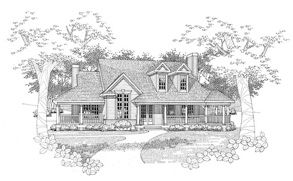 Cape Cod House Plan 65841 with 3 Beds, 2 Baths, 2 Car Garage Elevation