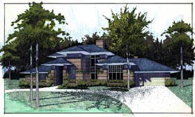 Southwest , Prairie Style , Contemporary House Plan 65844 with 3 Beds, 2.5 Baths, 2 Car Garage Elevation