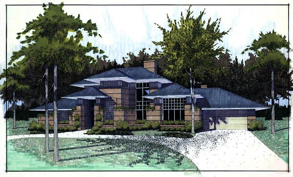Contemporary Prairie Style Southwest House Plan 65844 Elevation