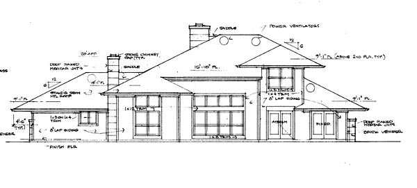 Contemporary Prairie Style Southwest House Plan 65844 Rear Elevation