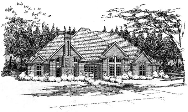 European House Plan 65845 with 4 Beds, 2.5 Baths, 2 Car Garage Elevation