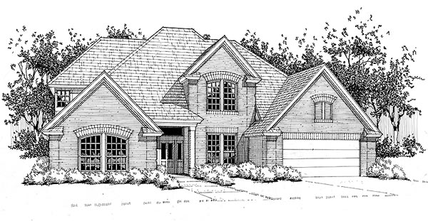 Traditional House Plan 65847 with 4 Beds, 3.5 Baths, 2 Car Garage Elevation