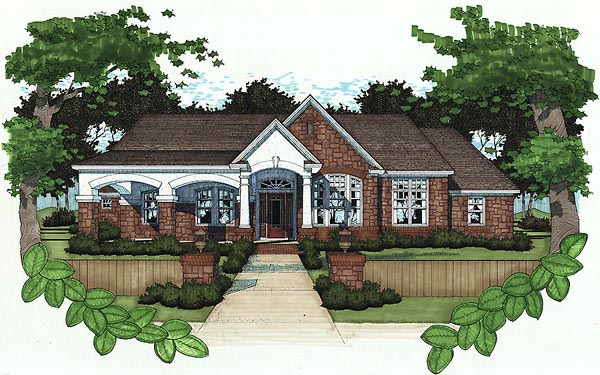 Bungalow House Plan 65851 with 3 Beds, 3 Baths, 2 Car Garage Elevation