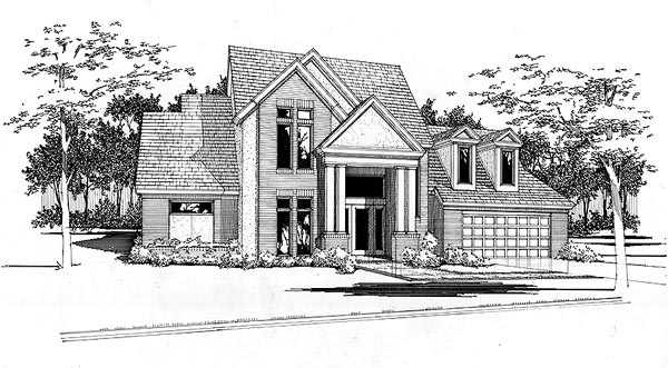 Contemporary Elevation of Plan 65854