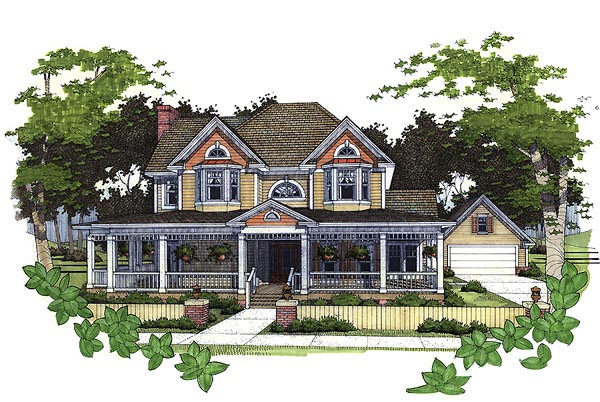 Farmhouse House Plan 65857 with 4 Beds, 3.5 Baths, 2 Car Garage Elevation
