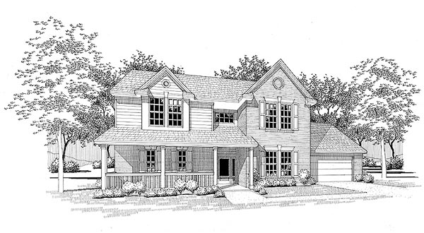 Country House Plan 65858 with 4 Beds, 3.5 Baths, 2 Car Garage Front Elevation