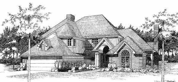 Traditional House Plan 65859 with 3 Beds, 2.5 Baths, 2 Car Garage Elevation
