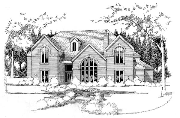 European House Plan 65861 with 5 Beds, 4 Baths, 3 Car Garage Elevation