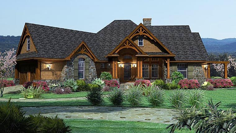 Cottage, Craftsman, Tuscan Plan with 2091 Sq. Ft., 3 Bedrooms, 3 Bathrooms, 2 Car Garage Elevation