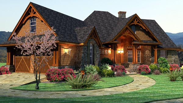 Cottage, Craftsman, Tuscan Plan with 2091 Sq. Ft., 3 Bedrooms, 3 Bathrooms, 2 Car Garage Picture 2
