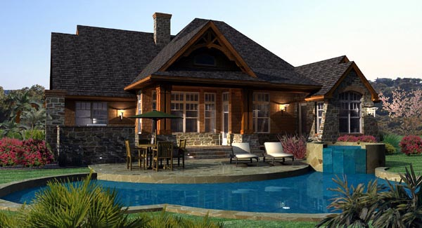 Cottage, Craftsman, Tuscan Plan with 2091 Sq. Ft., 3 Bedrooms, 3 Bathrooms, 2 Car Garage Rear Elevation