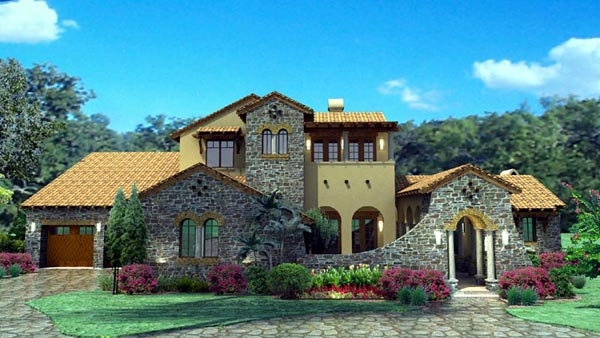 Mediterranean Tuscan Elevation of Plan 65863