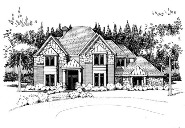 European House Plan 65864 with 5 Beds, 5 Baths, 2 Car Garage Elevation