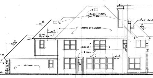 European House Plan 65864 Rear Elevation