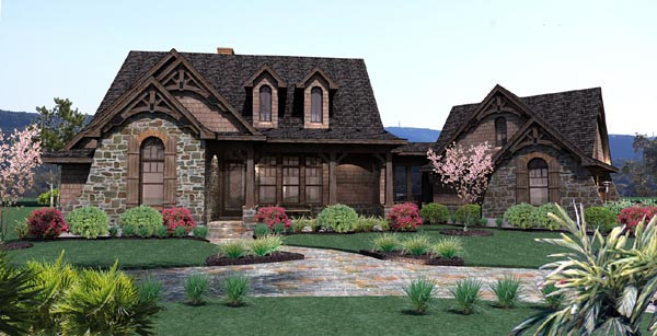 Cottage Craftsman Tuscan Elevation of Plan 65866