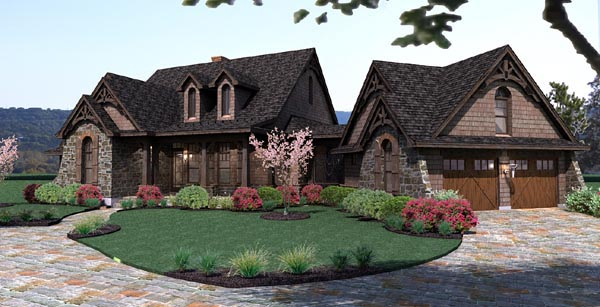 Cottage, Craftsman, Tuscan House Plan 65866 with 3 Beds, 3 Baths, 2 Car Garage Picture 1