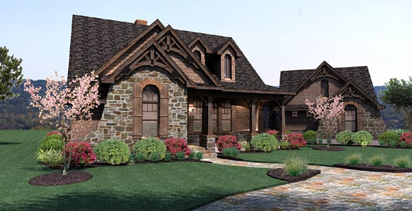 Cottage, Craftsman, Tuscan House Plan 65866 with 3 Beds, 3 Baths, 2 Car Garage Picture 2