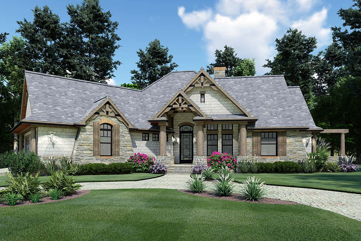 Cottage, Craftsman, Ranch, Tuscan House Plan 65867 with 3 Beds, 2 Baths, 2 Car Garage Front Elevation