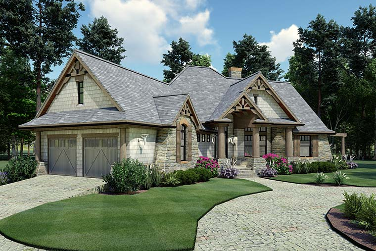 Cottage, Craftsman, Ranch, Tuscan House Plan 65867 with 3 Beds, 2 Baths, 2 Car Garage Picture 3