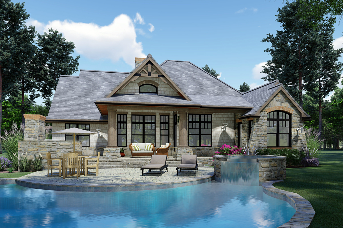 Cottage, Craftsman, Ranch, Tuscan House Plan 65867 with 3 Beds, 2 Baths, 2 Car Garage Rear Elevation