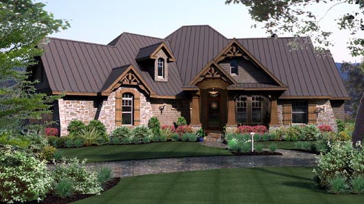 Cottage, Craftsman, Tuscan, House Plan 65869 with 3 Beds, 3 Baths, 3 Car Garage Elevation